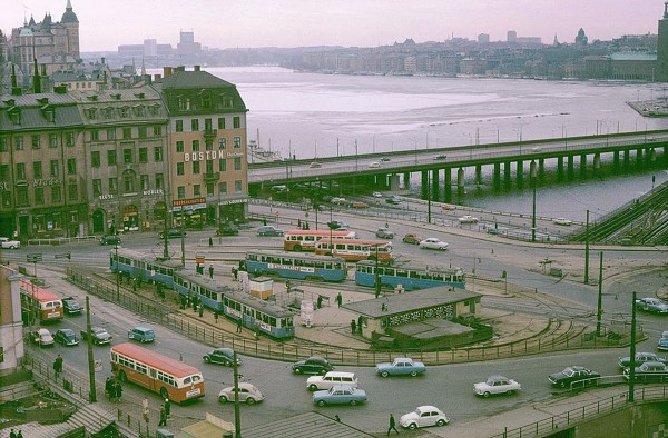 Södermalmstorg w Sztokholmie w 1964 roku (fot. Stockholm Transport Museum)