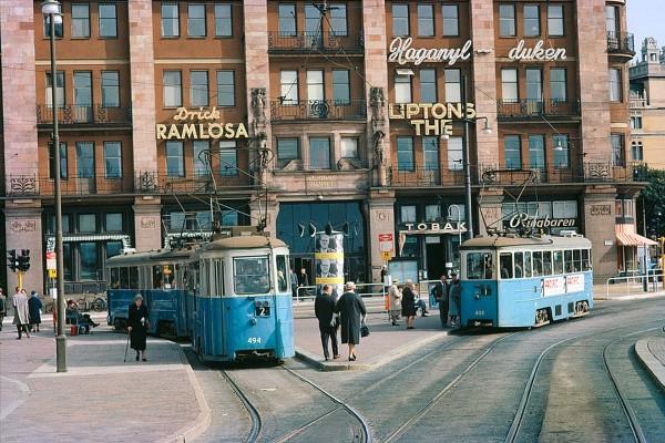 Tramwaje w Sztokholmie w 1962 roku (fot. Stockholm Transport Museum)