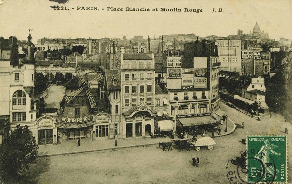 Pocztówka przedstawiająca Moulin Rouge