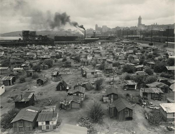 Hooverville - czyli slumsy na obrzeżach miast nazwane tak na cześć prezydenta Hoovera, który nie podjął żadnych kroków aby zapobiec kryzysowi w USA