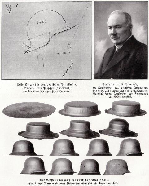 Kolejne etapy przygotowania hełmu Stahlhelm