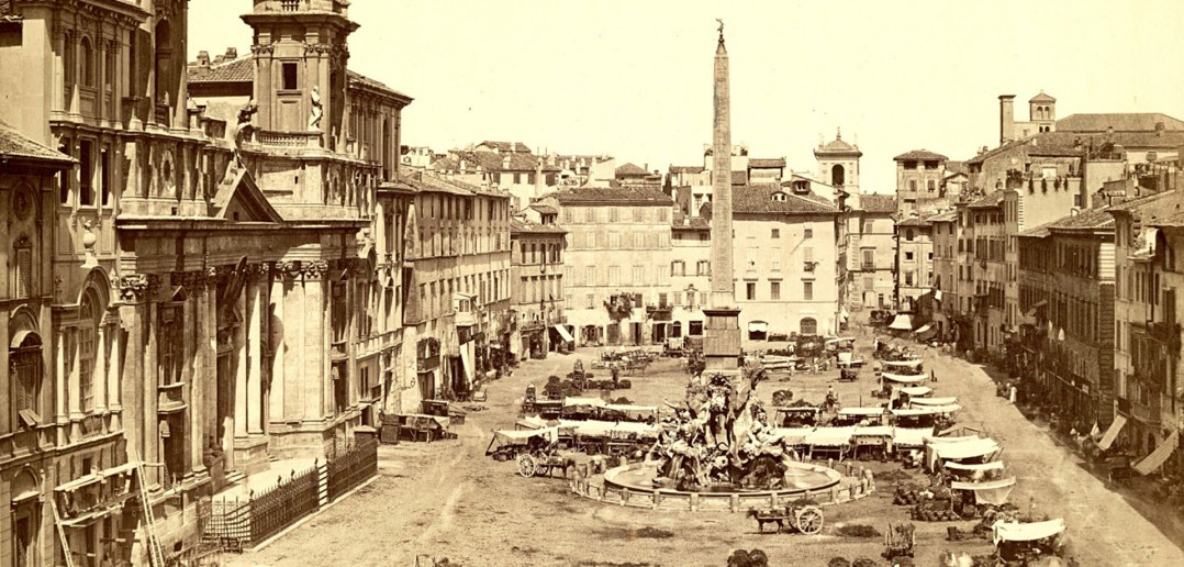 Plac Piazza Navona w Rzymie w 1900 roku