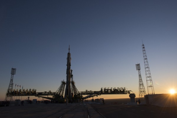 TMA-19M już na platformie startowej - 13 grudnia 2015. (fot. Stephen Corvaja/ESA)