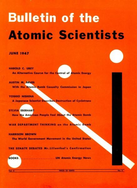 Pierwsza okładka Bulletin of the Atomic Scientists