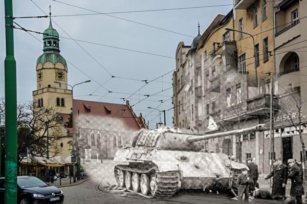 Rynek Wildecki i niemiecki czołg PzKpfw V Panther (fot. Piotr Oźima/Pomost)