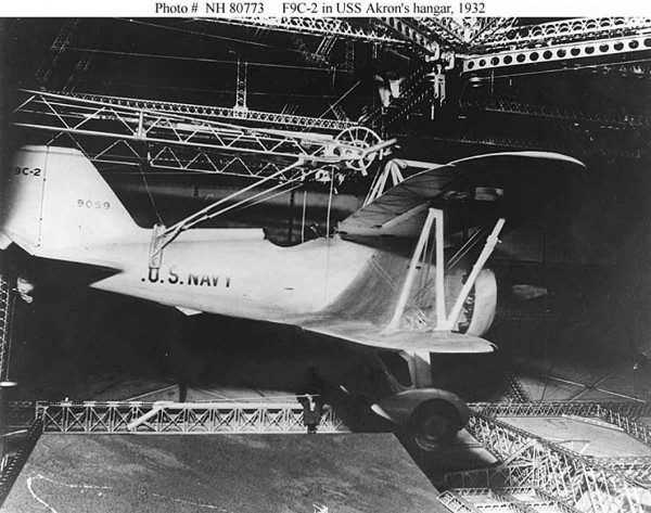 Curtiss F9C Sparrowhawk w hangarze USS Akron