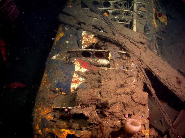 Resztki jednego Curtissa F9C Sparrowhawk we wraku USS Macon