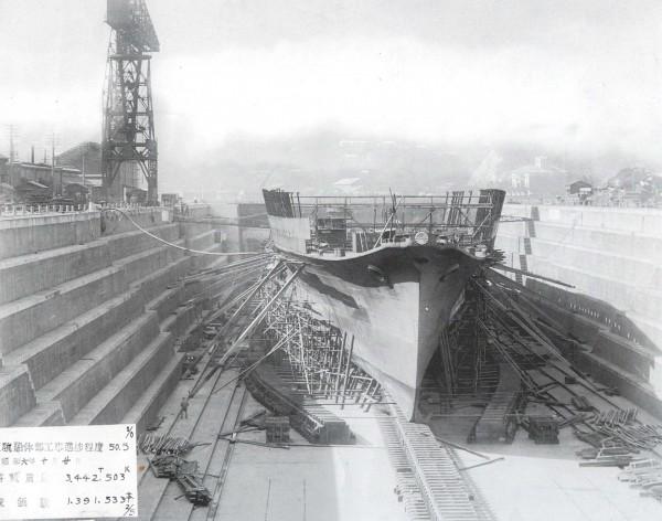 Japoński lotniskowiec Ryujo w trakcie budowy w suchym doku stoczni Yokosuka. Zdjęcie wykonano 20 października 1931 roku (po wodowaniu kadłuba)