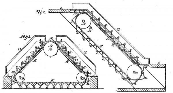 Rysunek patentowy schodów zaprojektowanych przez Nathana Amesa