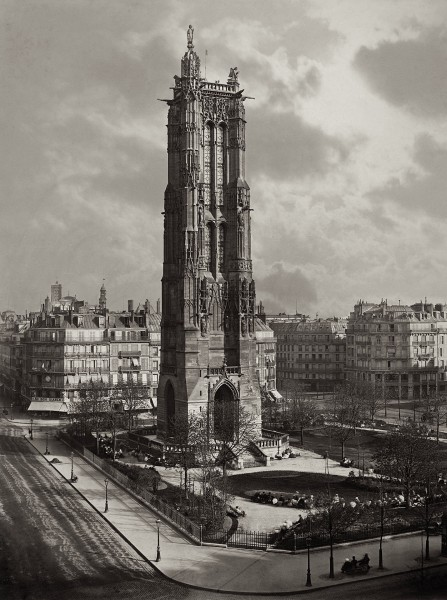 Wieża Saint Jacques w Paryżu w 1867 roku (fot. Charles Soulier)