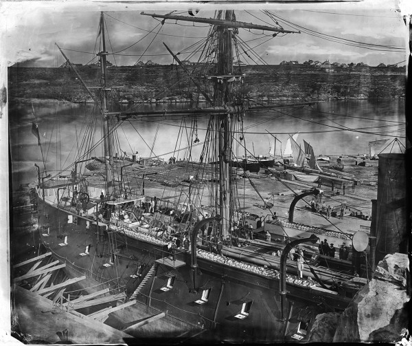 Francuska korweta pancerna Atalante w doku Fitzroy Dock w Sydney w sierpniu 1873 roku (fot. Henry Merlin Beaufoy/State Library NSW)