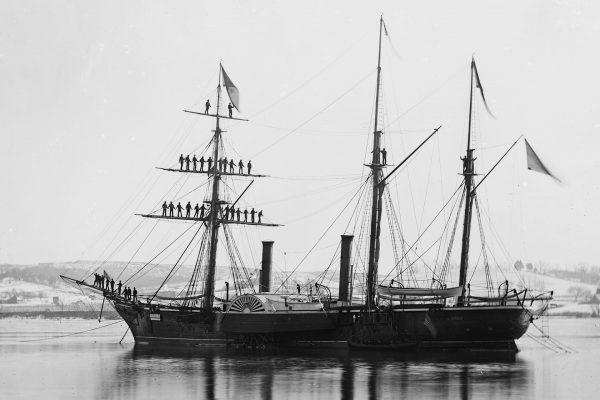 Brazylijska fregata bocznokołowa - zdjęcie z 1863 roku