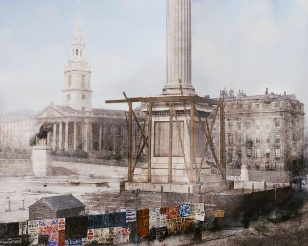 Kolumna Nelsona w Londynie w kwietniu 1844 roku (fot. Jordan J. Lloyd/www.dynamichrome.com)