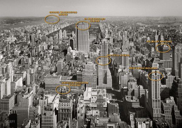 Manhattan - widok na północ z Empire State Building w 1933 roku (fot. Samuel Gottscho i William Schleisner/Shorpy Archive)