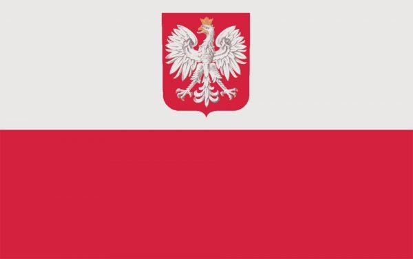 Flaga Polski z godłem oraz bandera statków cywilnych i handlowych