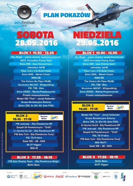 Plan pokazów Aerofestival 2016