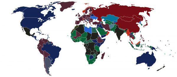 Mapka przedstawiająca kolory paszportów na całym świecie