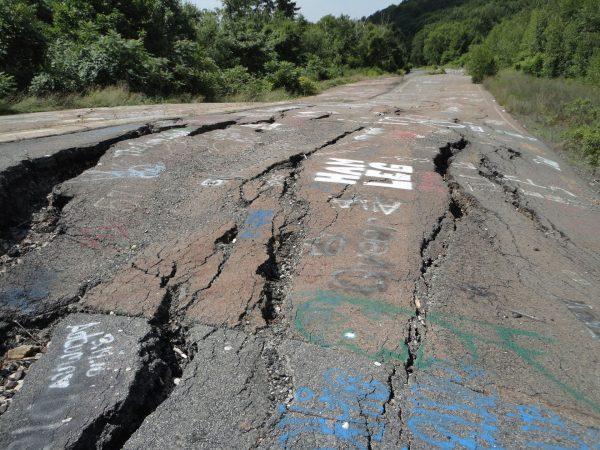 Zniszczona droga w Centrali