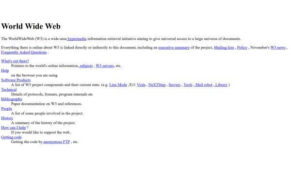 Pierwsza strona www w historii (widok współczesny)