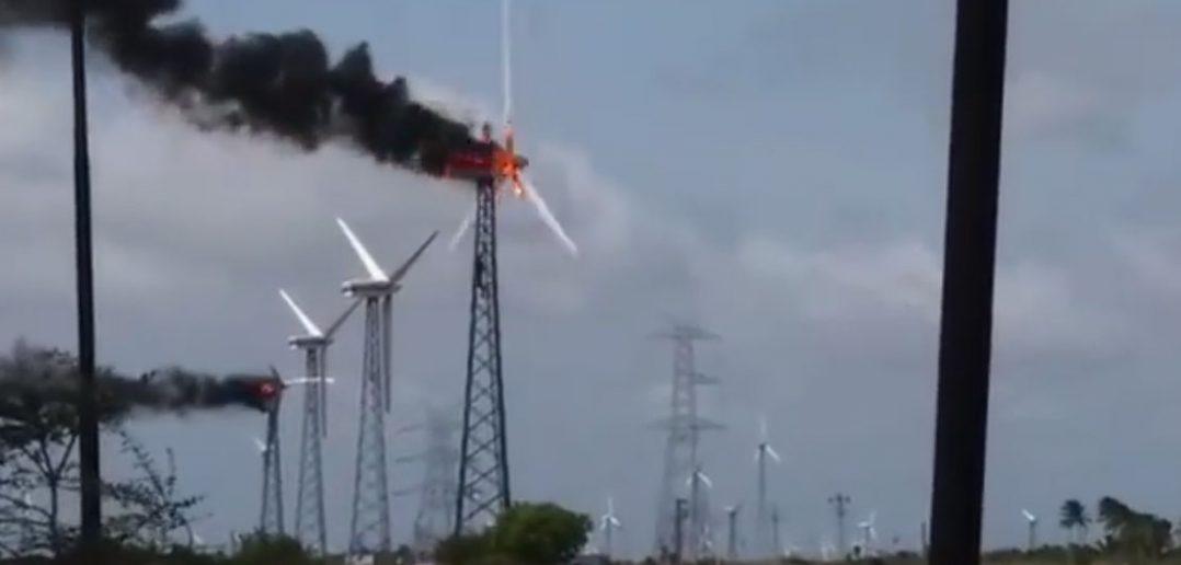 Pożar turbiny wiatrowej - film