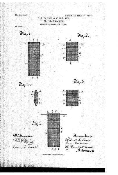 Listki herbaty - rysunek z wniosku patentowego Roberty C. Lawson i Mary Mclaren