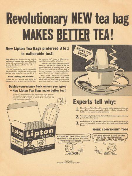 Amerykańska reklama herbaty w torebkach firmy Lipton z 1952 roku