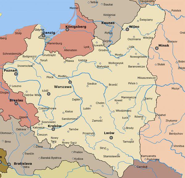 Mapa Polski po ostatecznym ukształtowaniu granic w 1923 roku