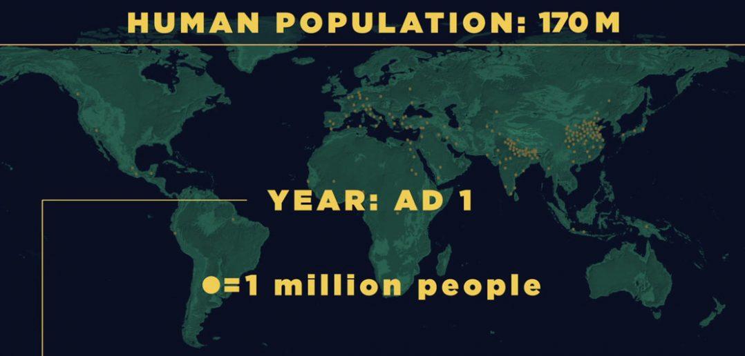 Jak zmieniała się populacja na świecie - animacja