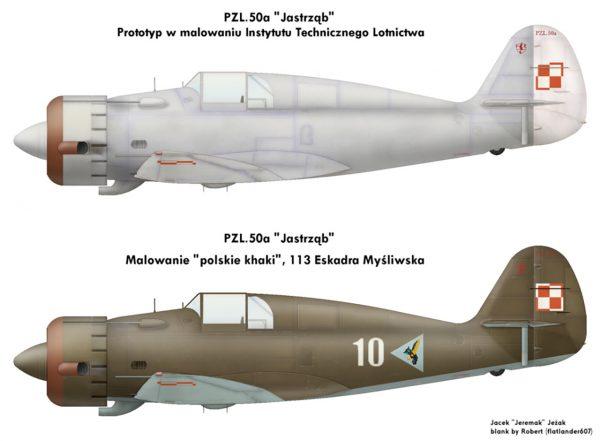 Rysunki PZL.50 Jastrząb w różnych malowaniach (prototyp nigdy nie otrzymał kamuflażu)