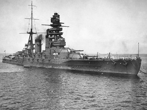 Japoński pancernik Nagato zbudowany po I wojnie światowej. Okręt jako jeden z niewielu japońskich pancerników przetrwał II wojnę światową i został zatopiony jako cel po wojnie