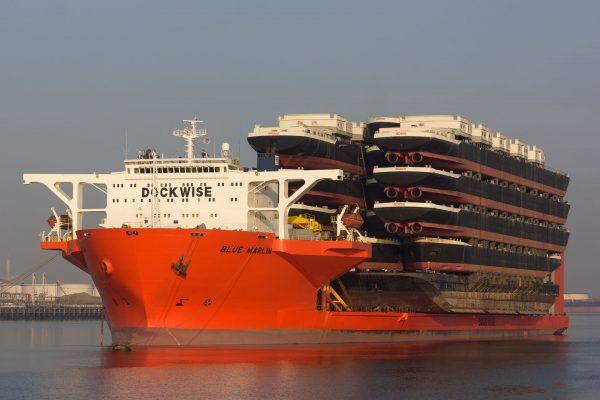 MV Blue Marlin transportujący barki rzeczne (fot. HansE/naviearmatori.net)
