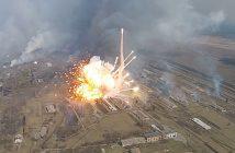 Pożar składu amunicji na Ukrainie - film