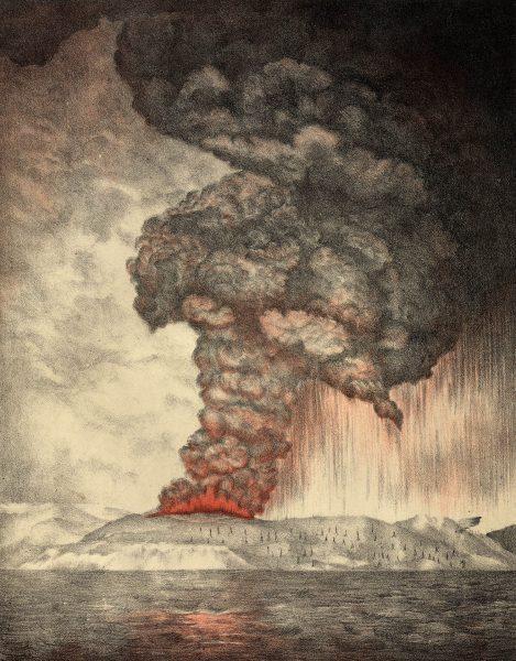 Litografia z 1888 roku przedstawiająca erupcję wulkanu Krakatau (fot. Hulton Archive/Getty Images)