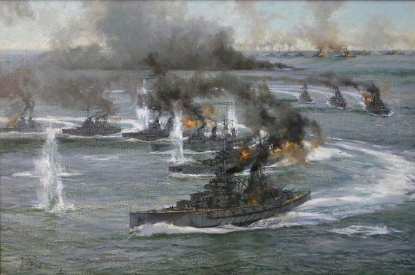Obraz przedstawiający bitwę jutlandzką