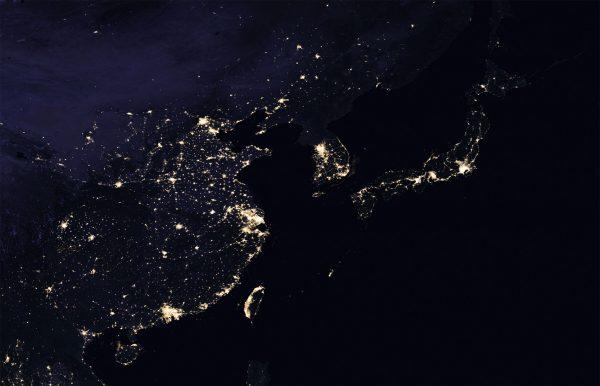 Wschodnie Chiny, Korea Północna i Południowa oraz Japonia (fot. NASA)