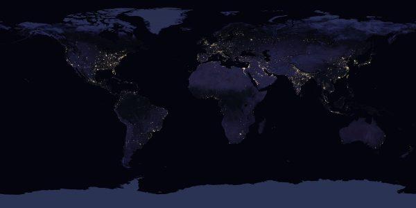 Mapa nocnych świateł (fot. NASA)