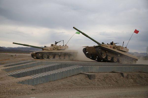 Typ 96B podczas przygotowań do czołgowego biatlonu w 2017 roku