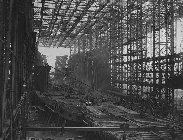 RMS Mauretania podczas budowy