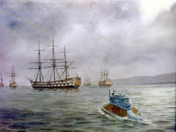 Obraz Franka Tinsleya przedstawiający atak Turtle na HMS Eagle
