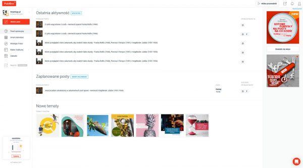 PublBox pozwala na tworzenie i planowanie treści publikowanych w różnych portalach społecznościowych