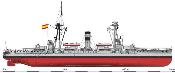 Hiszpański pancernik España (ex. Alfonso XIII) w 1937 roku