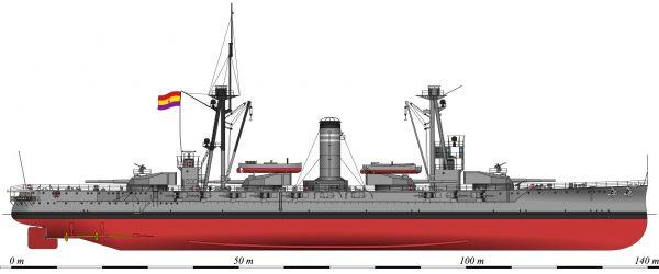 Hiszpański pancernik Jaime I w 1937 roku
