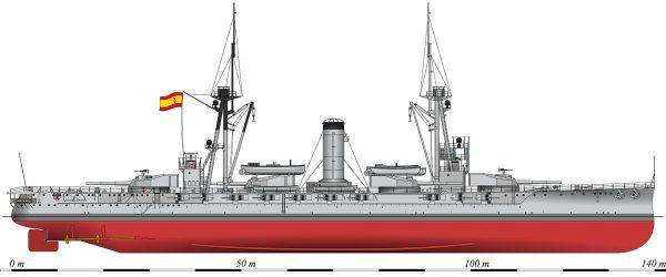 Hiszpański pancernik España w 1923 roku