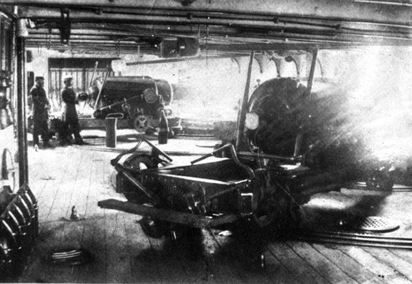 Pokład działowy fregaty Blanco Encalada lub Cohrane