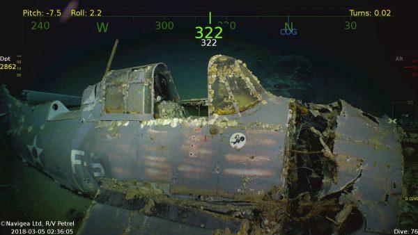 Grumman F4F-3 Wildcat z USS Lexington (fot. Navigea Ltd./paulallen.com)