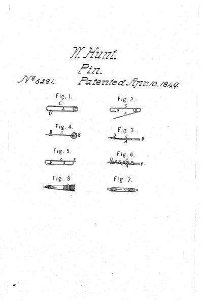Patent na agrafkę Waltera Hunta