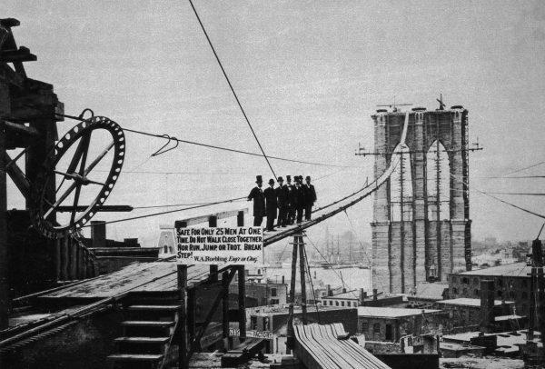 Most Brookliński podczas budowy