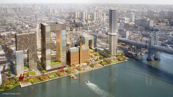 Tak ma wyglądać Domino Sugar Refinery i okoliczne apartamentowce (fot. SHoP Architects)