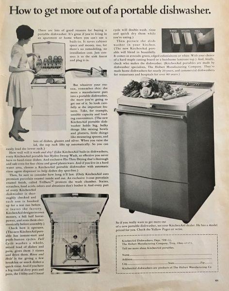 Reklama zmywarki do naczyń z lat 60.