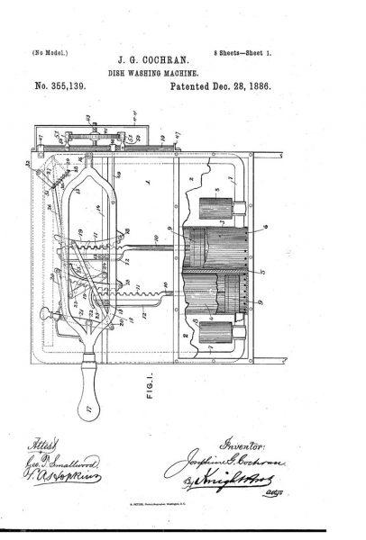 Patent na zmywarkę zaprojektowaną przez Josephine Cochrane